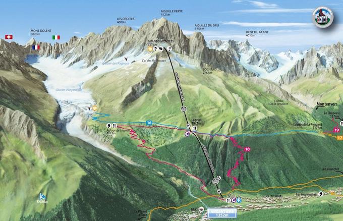 Summer lift areas maps Chamonix All Year