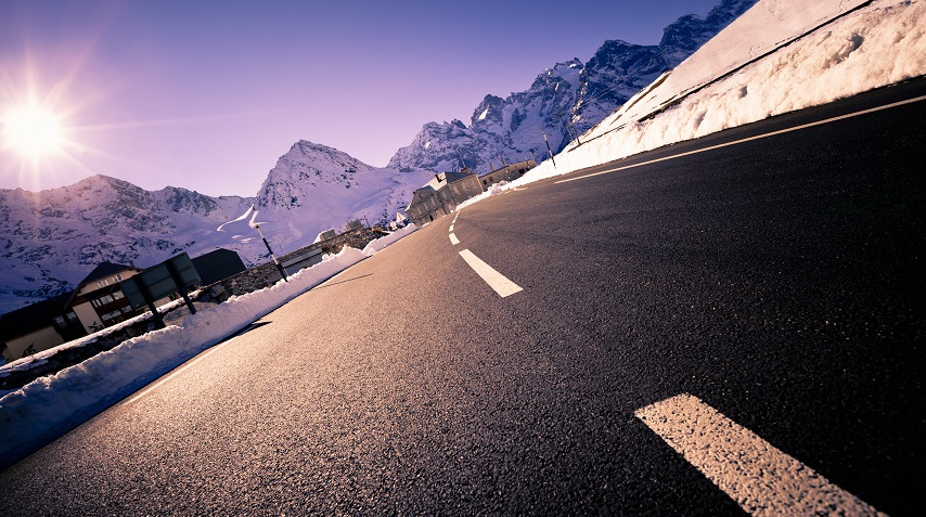 Driving to Chamonix in snow