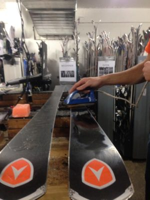 keep the iron moving for waxing your skis