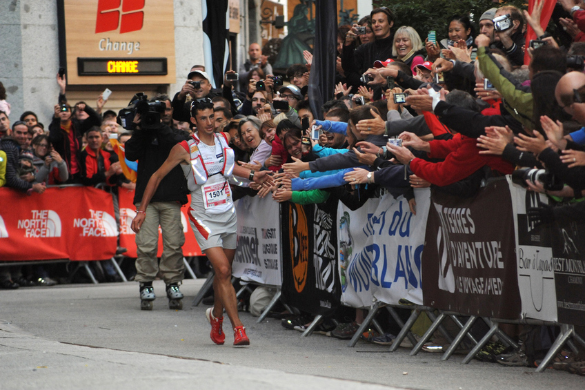 UTMB 2017 © UTMB Cyril BUSSAT - Kilian JORNET BURGADA approaches the finish line in 2011