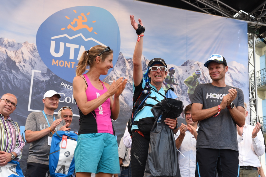 © UTMB Pascal TOURNAIRE Caroline Chaberot on the podium in 2016 with Ludovic POMMERET & Laurence DUPONT