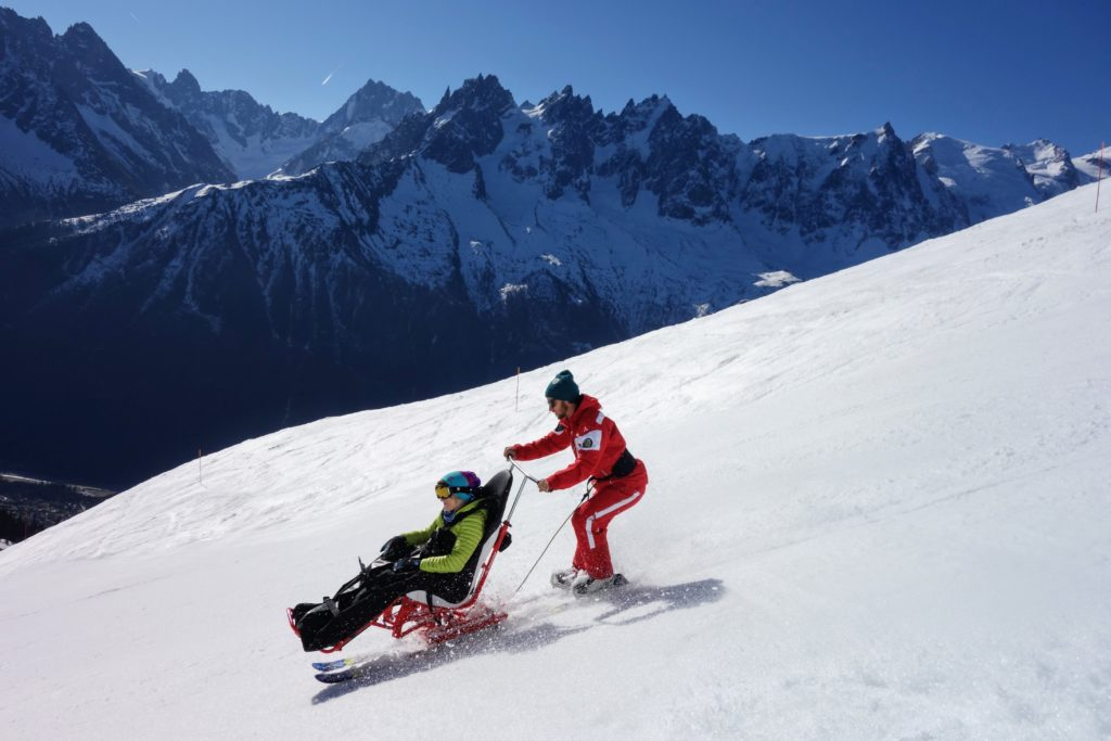 tandem-skiing-kirsten-taylor-reduced Disabled visitors coming to Chamonix