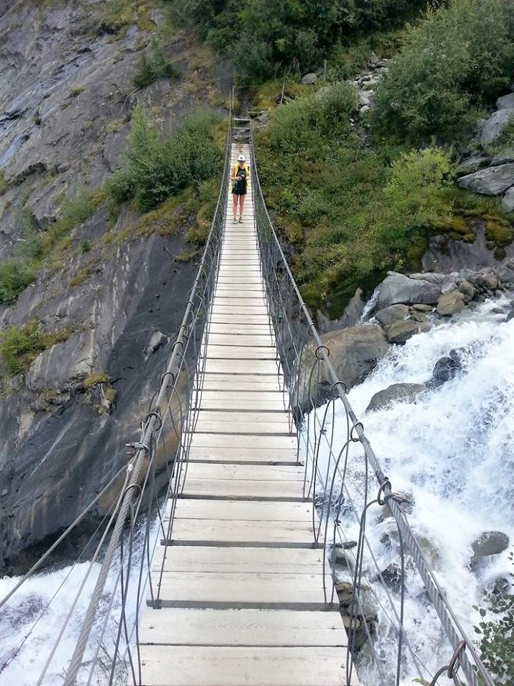 milly-on-the-bridge-above-meltwater-from-the-bionnassay-glacier Tour du Mont Blanc